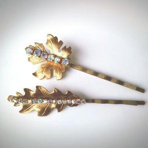 Gold Leaves Crystal Bobby Pins Hair Clip Set